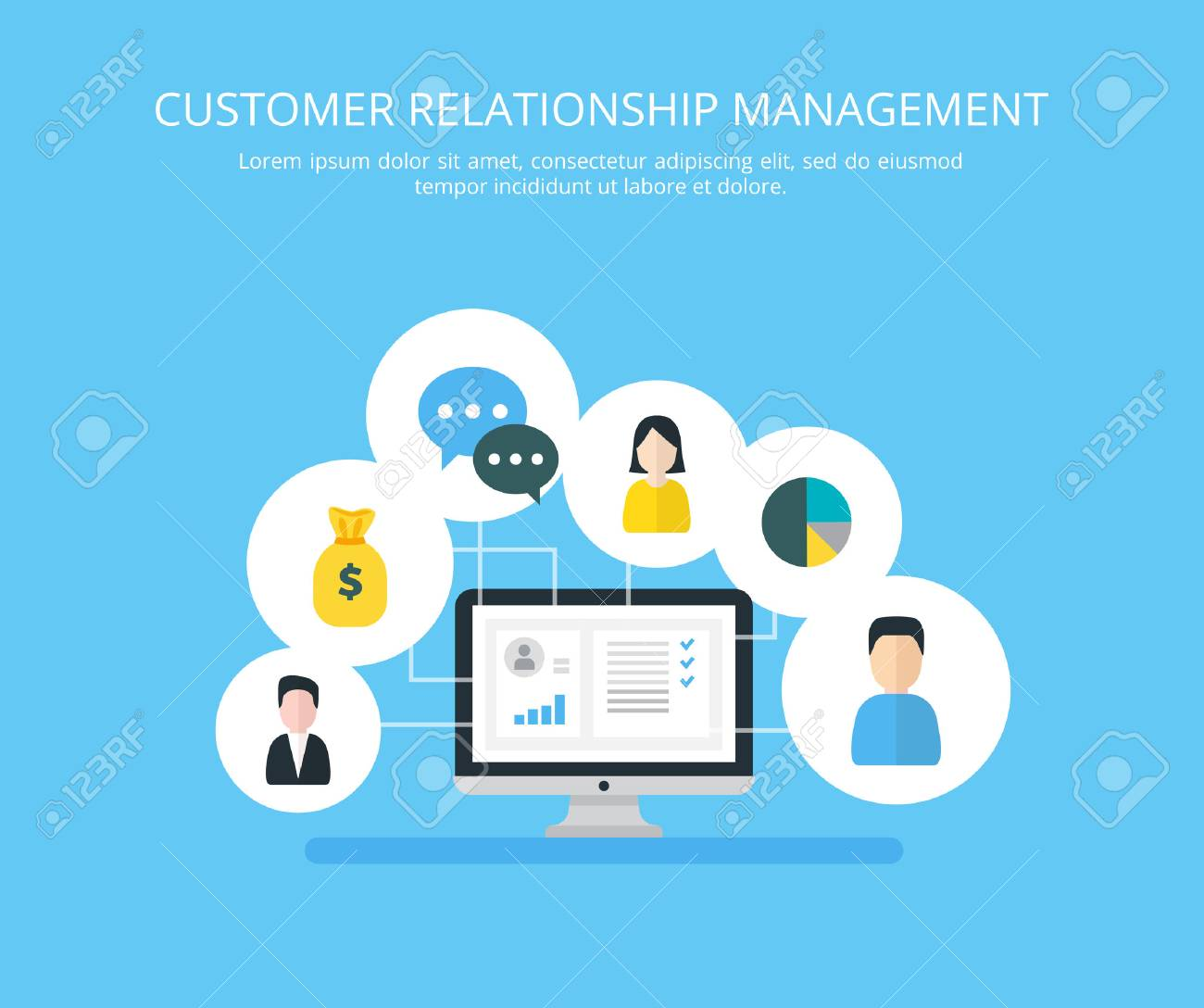 Customer Relationship Management Vector Illustration Flat Icons Of Accounting System Clients Support