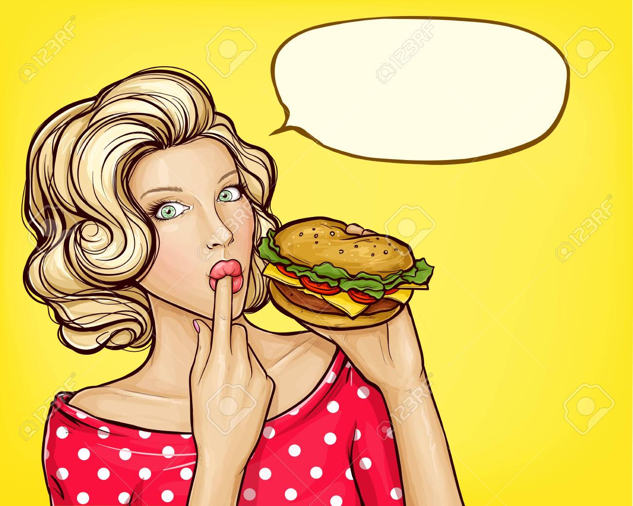 pop art illustration of girl with burger licking finger, isolated on yellow background. Beautiful young woman holding in hand tasty huge hamburger. Fast food advertising concept - 146918532