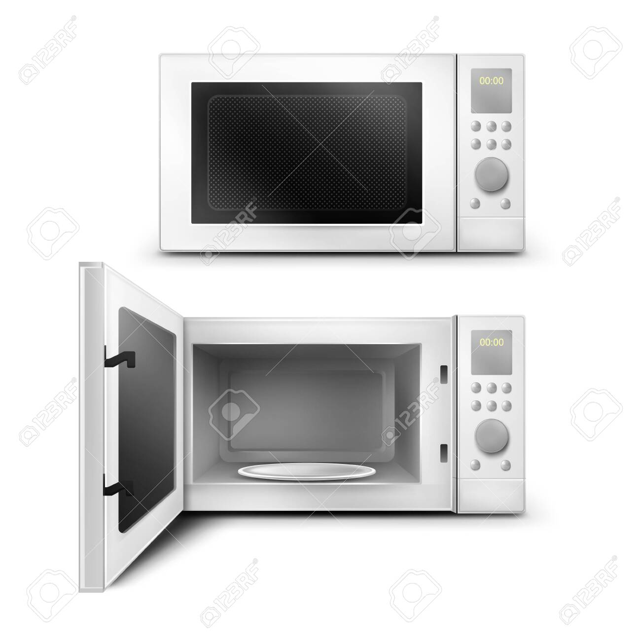 Vector 3d realistic white microwave oven with open and close door, with empty glass plate inside. Modern household appliance to cooking, defrosting and heating food. Front view isolated background. - 146803613