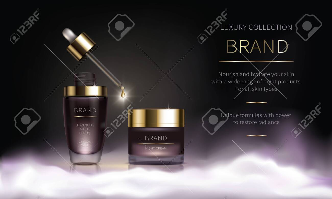 Night cosmetic series for face skin care, realistic vector. Purple jar of face cream and liquid revitalizing serum with dripping pipette. Cosmetics standing on white fluffy cloud on dark background - 149565738