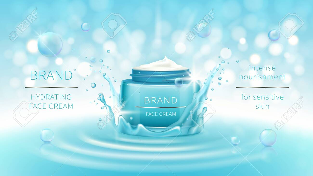 Vector cosmetic banner with 3d realistic blue open jar for skin care cream in water crown, splash, mockup for promotion. Beauty product concept with wavy water surface and bokeh for glossy magazine - 149565709