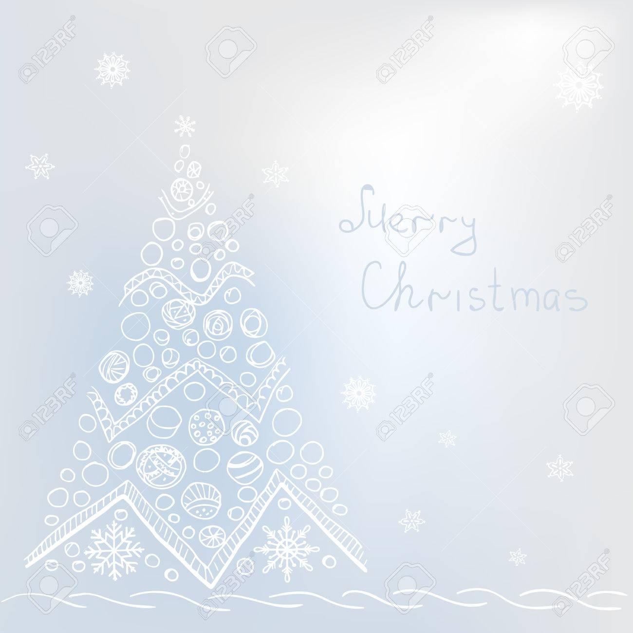 Grey Christmas Tree White Christmas Tree On Grey Background With Snowflakes Buble