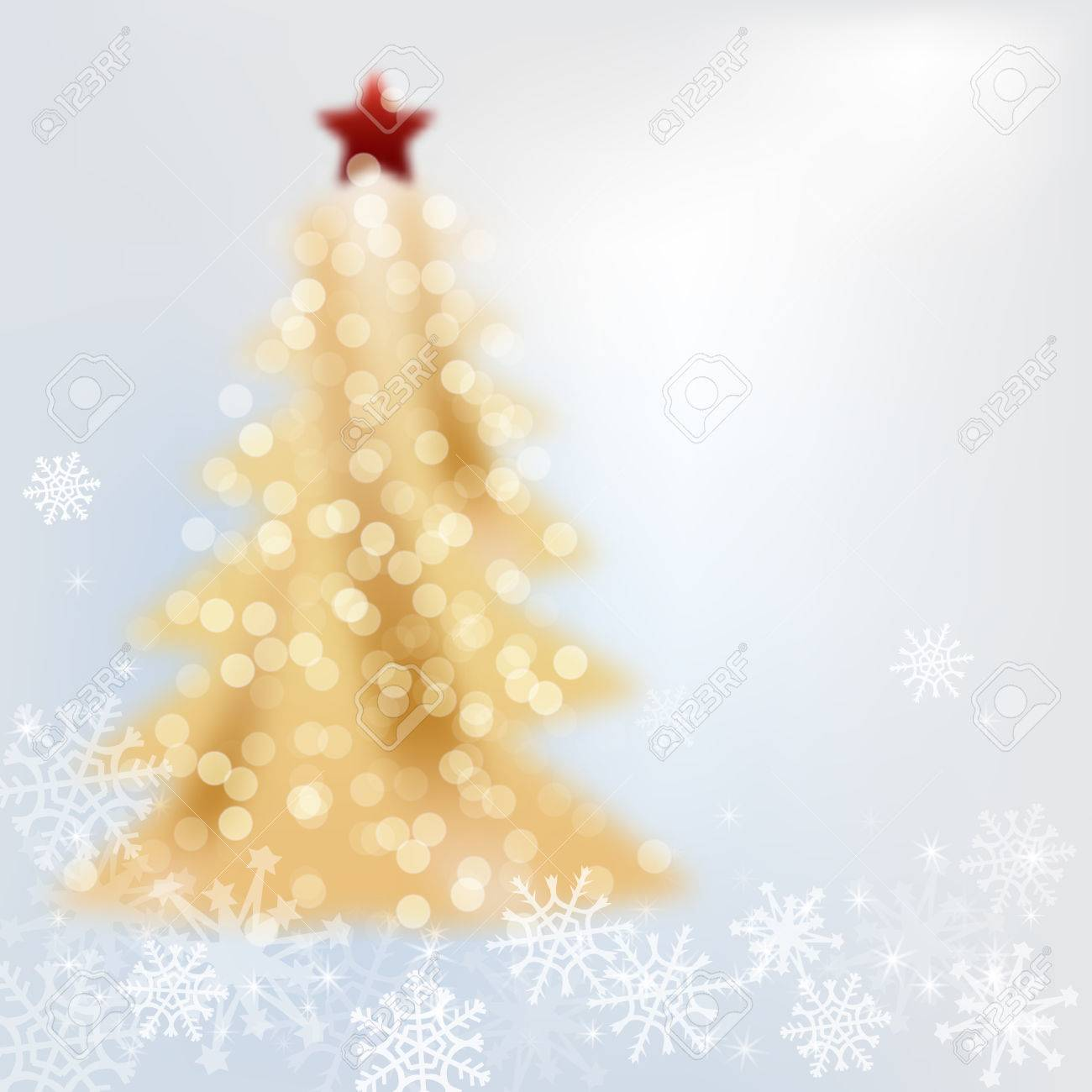 Grey Christmas Tree Golden Christmas Tree On Grey Background With Snowflakes Stars