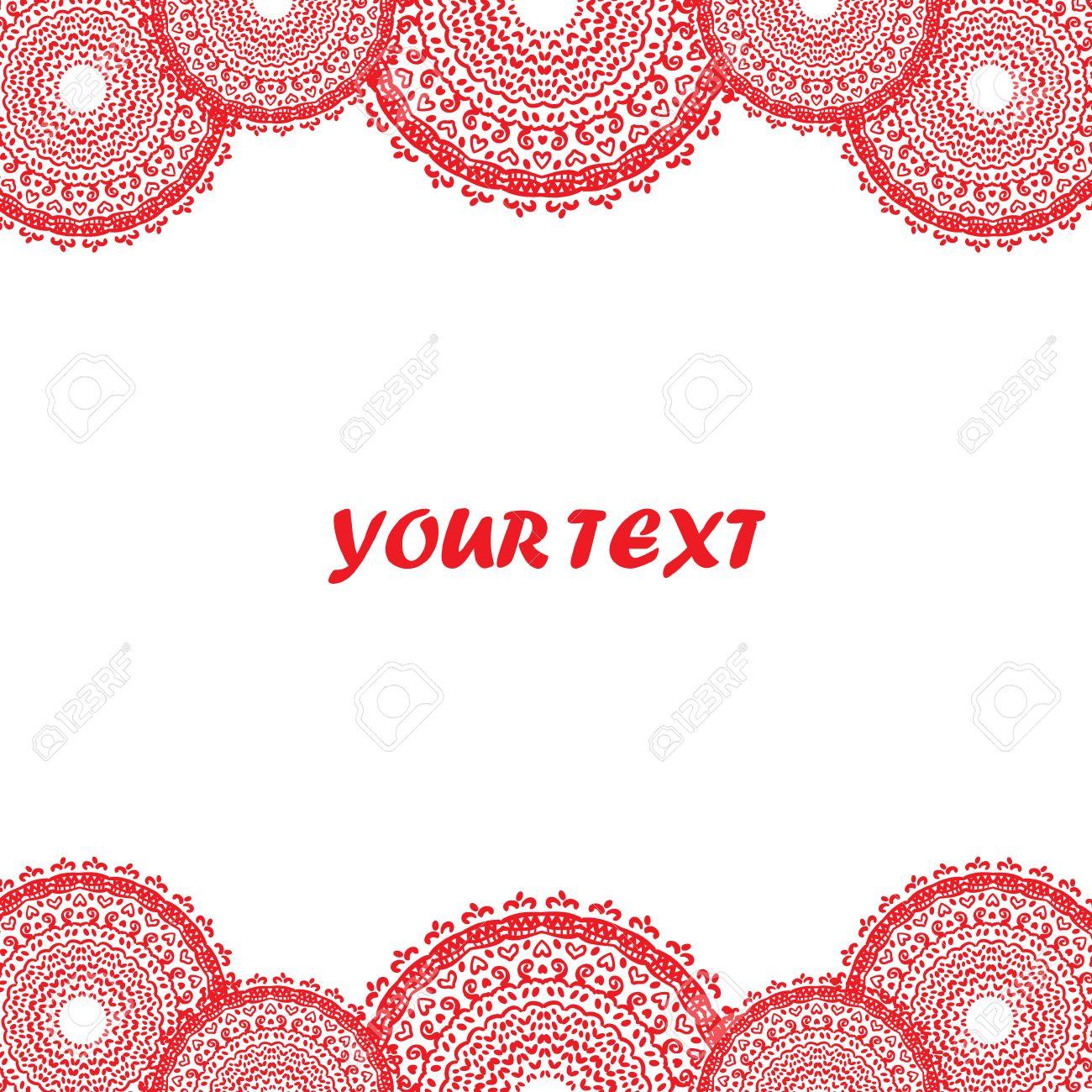 Rot Weiß Rahmen - Rund Mandala Doodle-Stil. Lizenzfrei Nutzbare ...