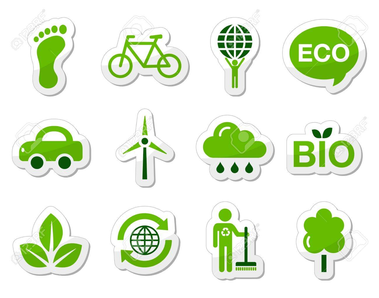 Green eco icons set Stock Vector - 13593157