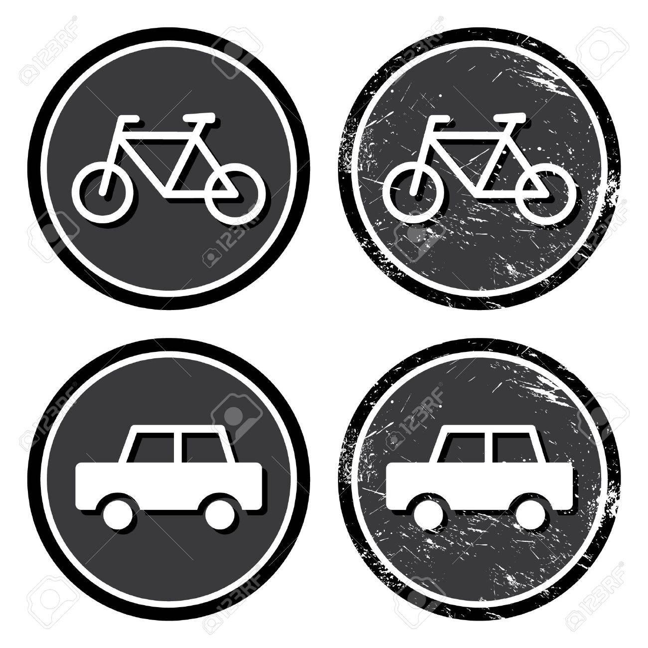 Bike and car retro label Stock Vector - 14126629