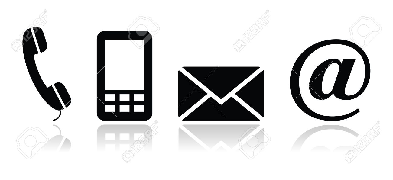 Contact black icons set - mobile, phone, email, envelope - 14797096