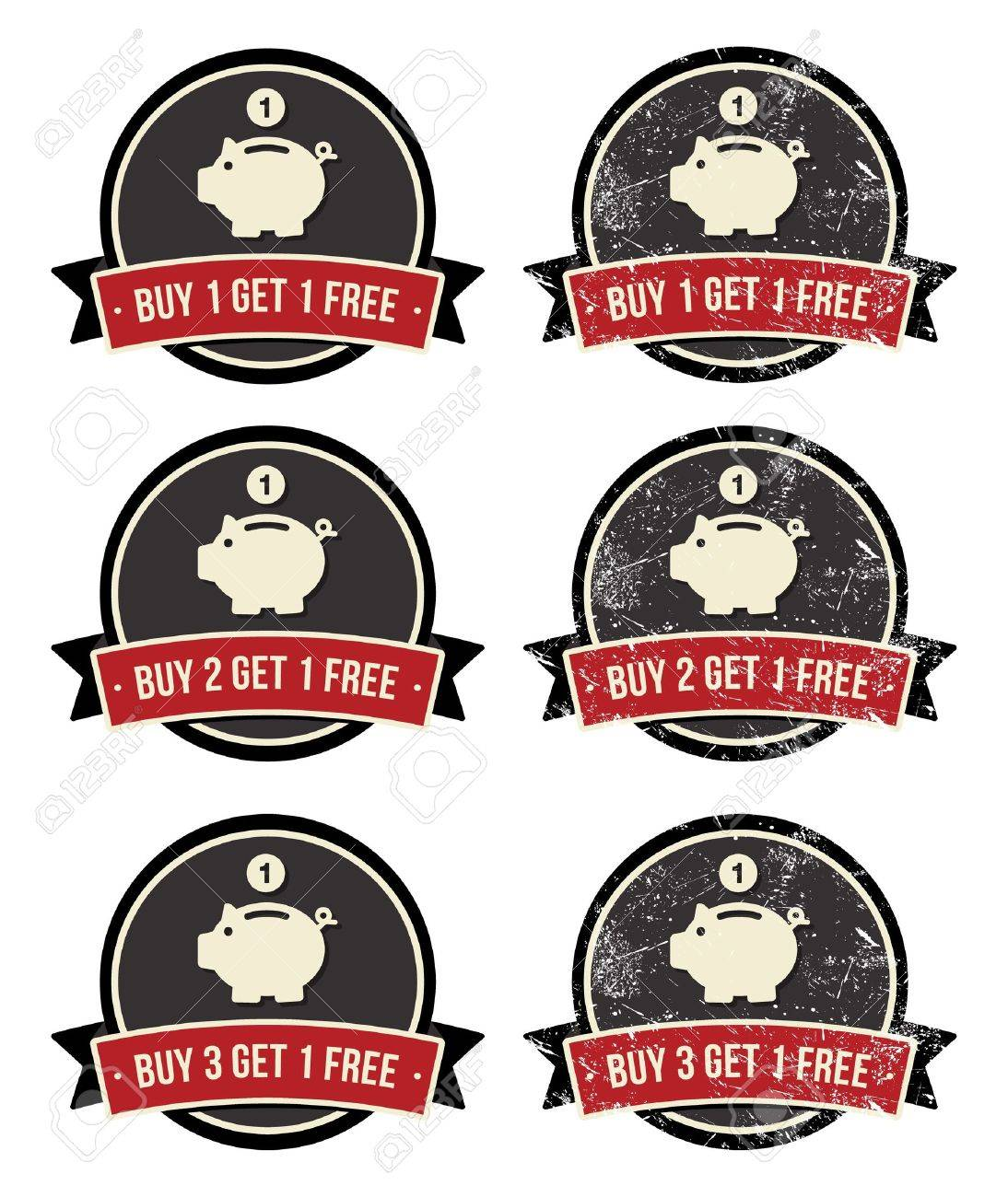 Buy 1 Get 1 Free retro grunge badges set Stock Vector - 14848864