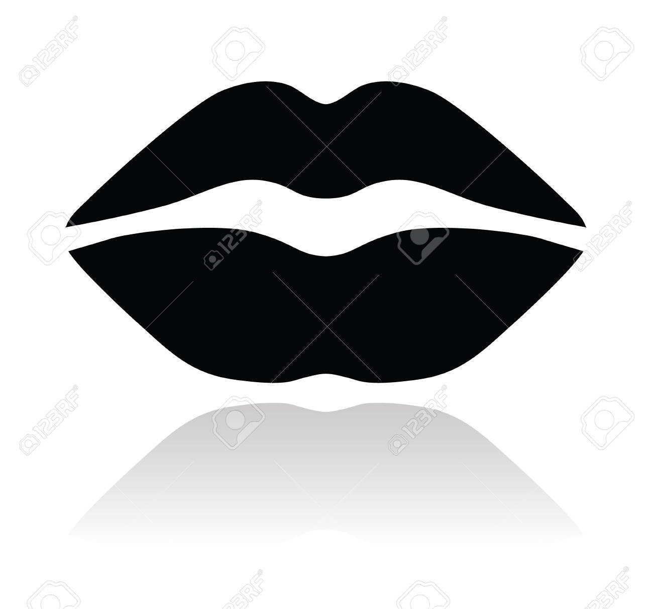 Lips black glossy icon Stock Vector - 14848861
