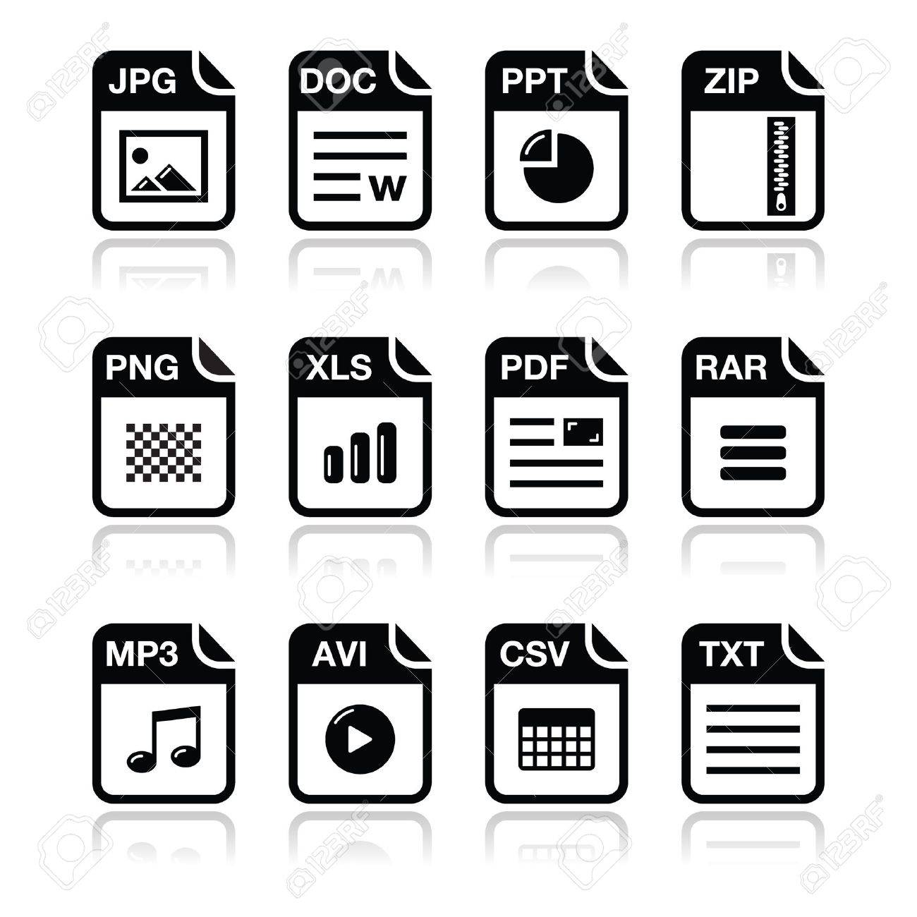 File type black icons with shadow set - zip, pdf, jpg, doc Stock Vector - 15030203