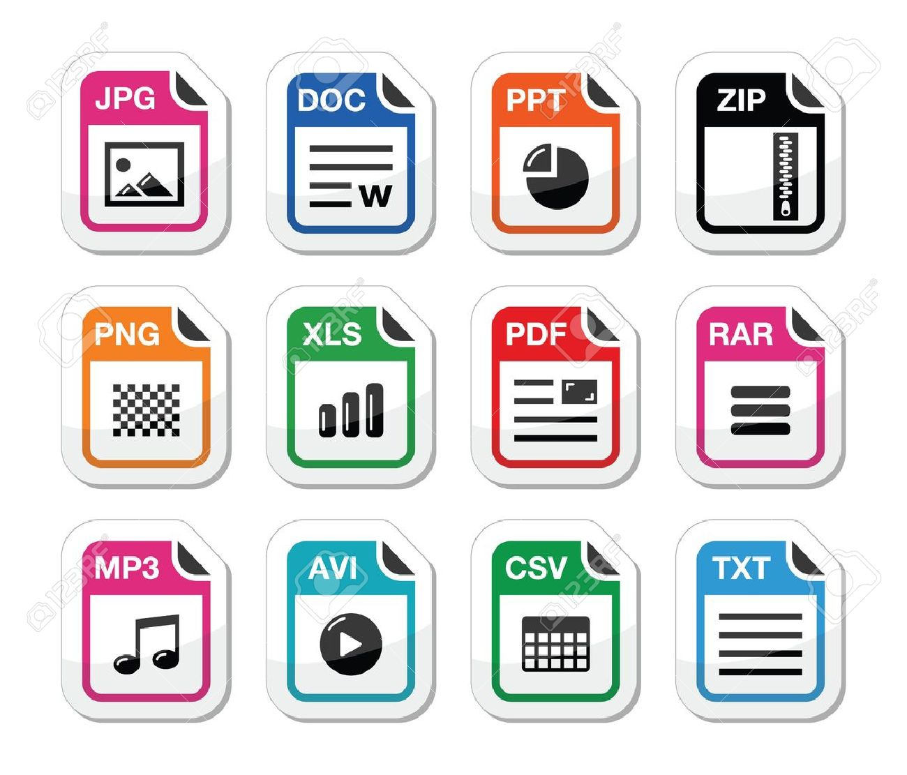 File type icons as labels set - zip, pdf, jpg, doc Stock Vector - 15030206