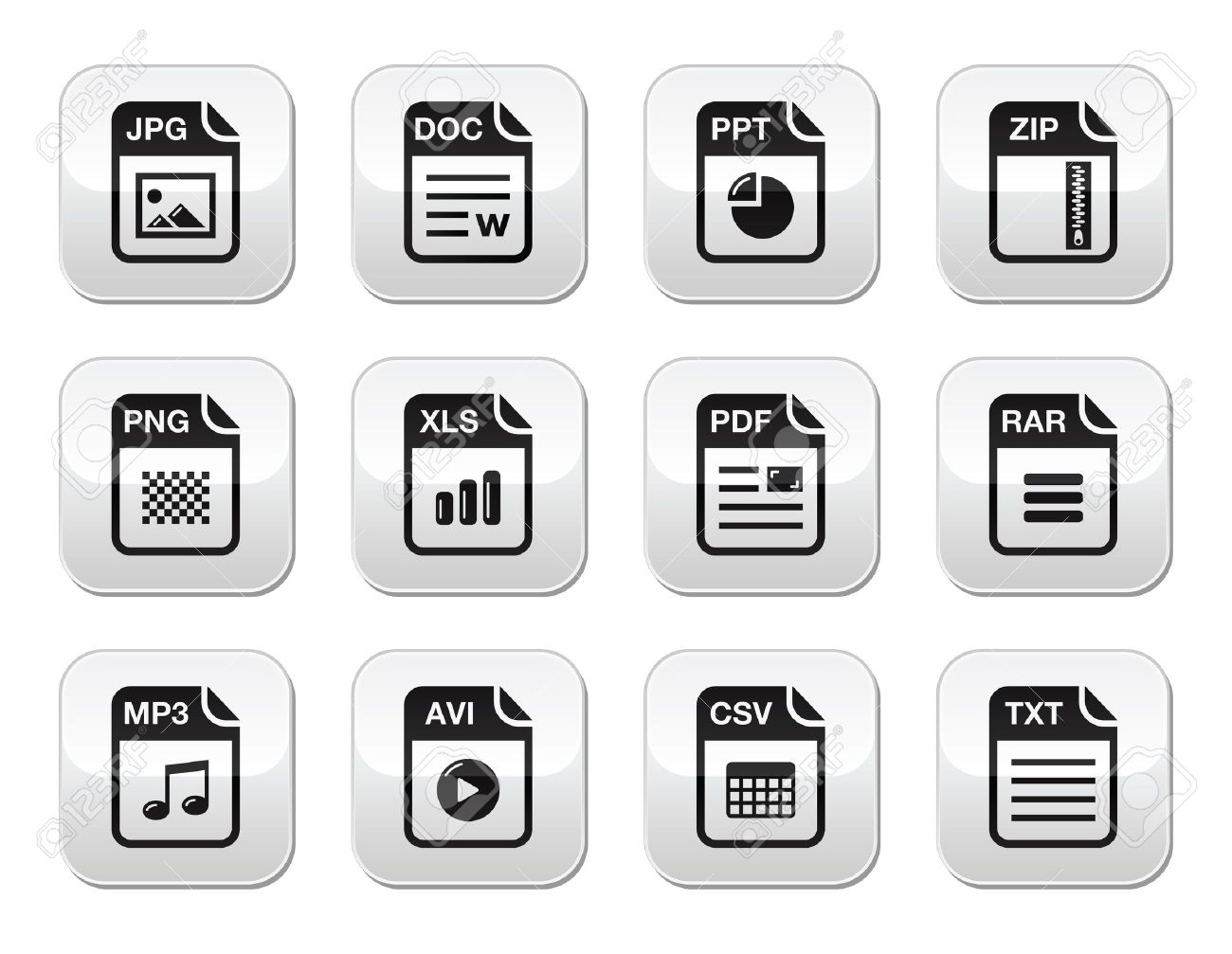 File type black icons on modern grey buttons set Stock Vector - 15030205