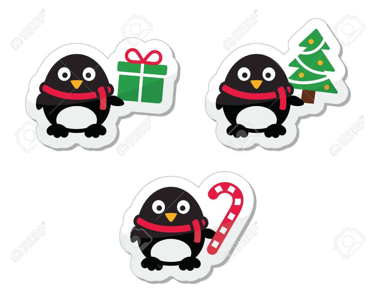 Christmas icons with penguins Stock Vector - 15130821