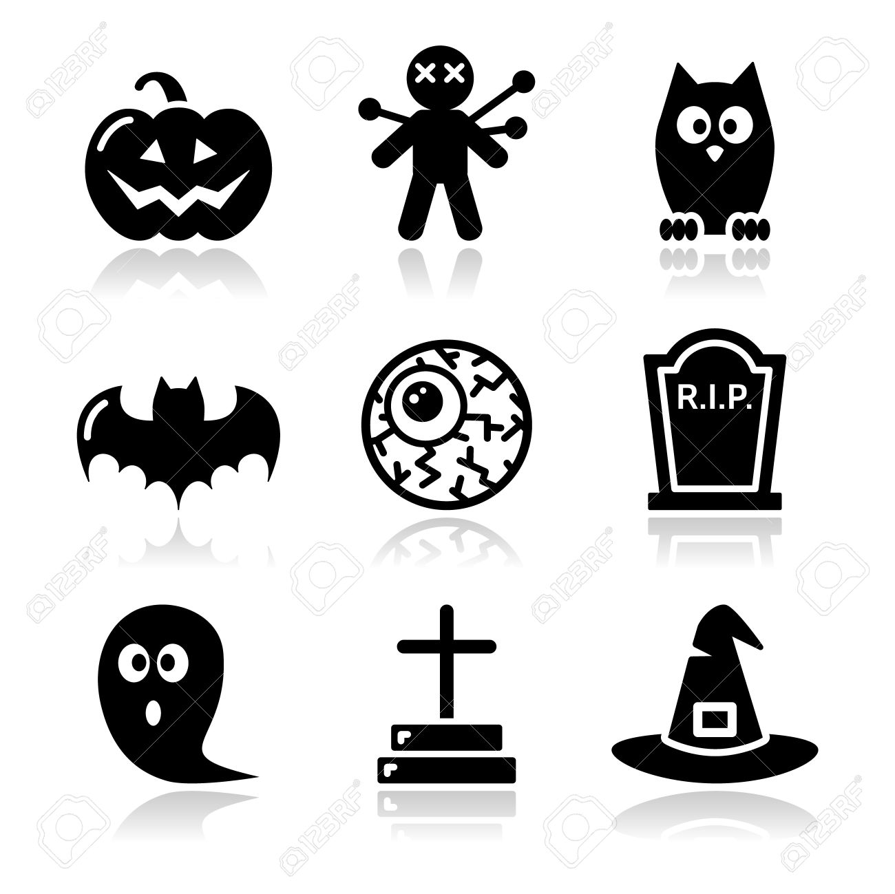 Halloween black icons set - pumpkin, witch, ghost Stock Vector - 15498122
