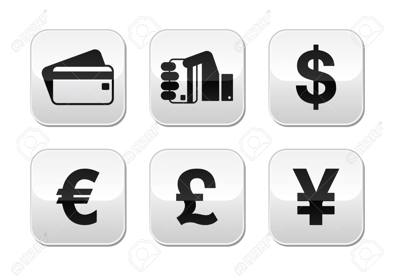 Payment methods buttons set - credit card, by cash - currency Stock Vector - 15593676