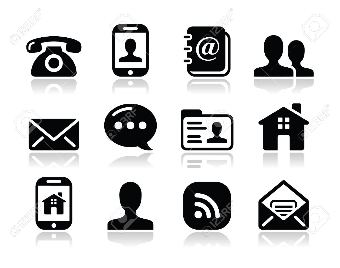 Contact black icons set - mobile, user, email, smartphone - 16492669
