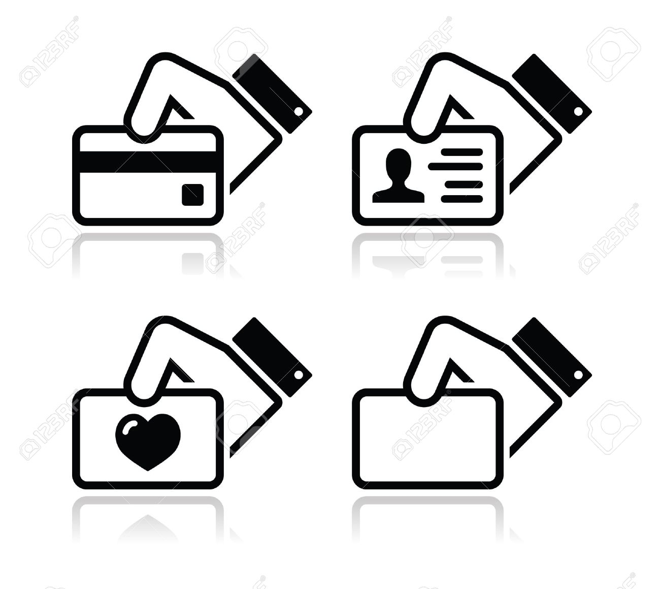 Hand holding credit card business card id icons set royalty free hand holding credit card business card id icons set stock vector 16520688 reheart Gallery