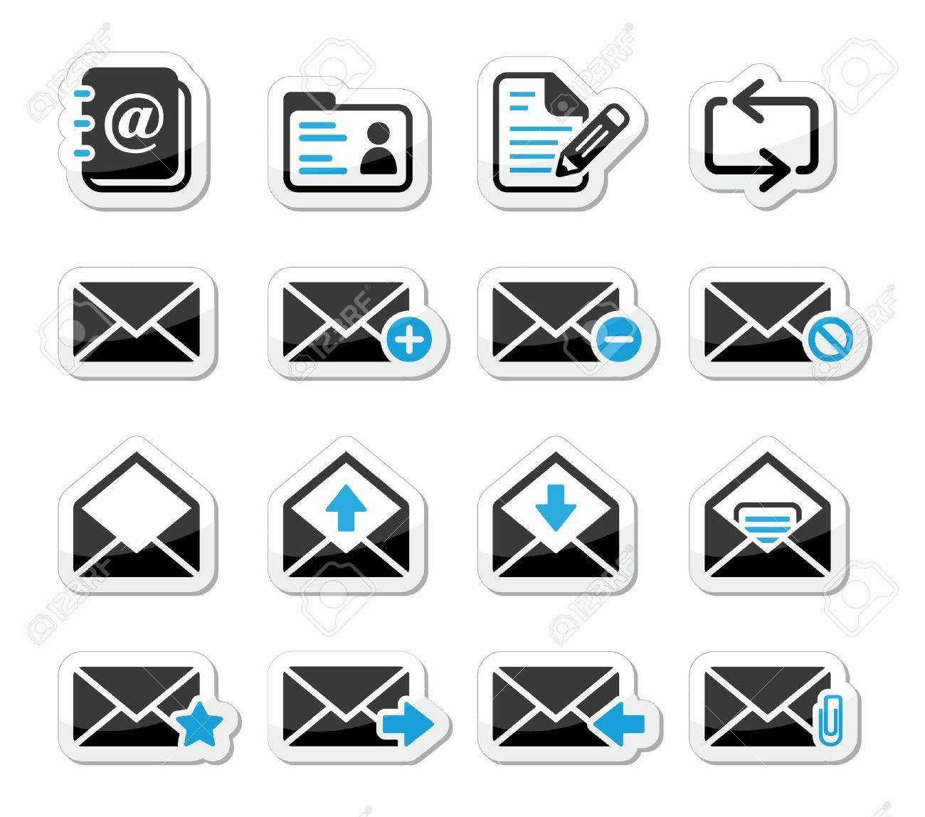 Email mailbox icons set as labels Stock Vector - 16594144