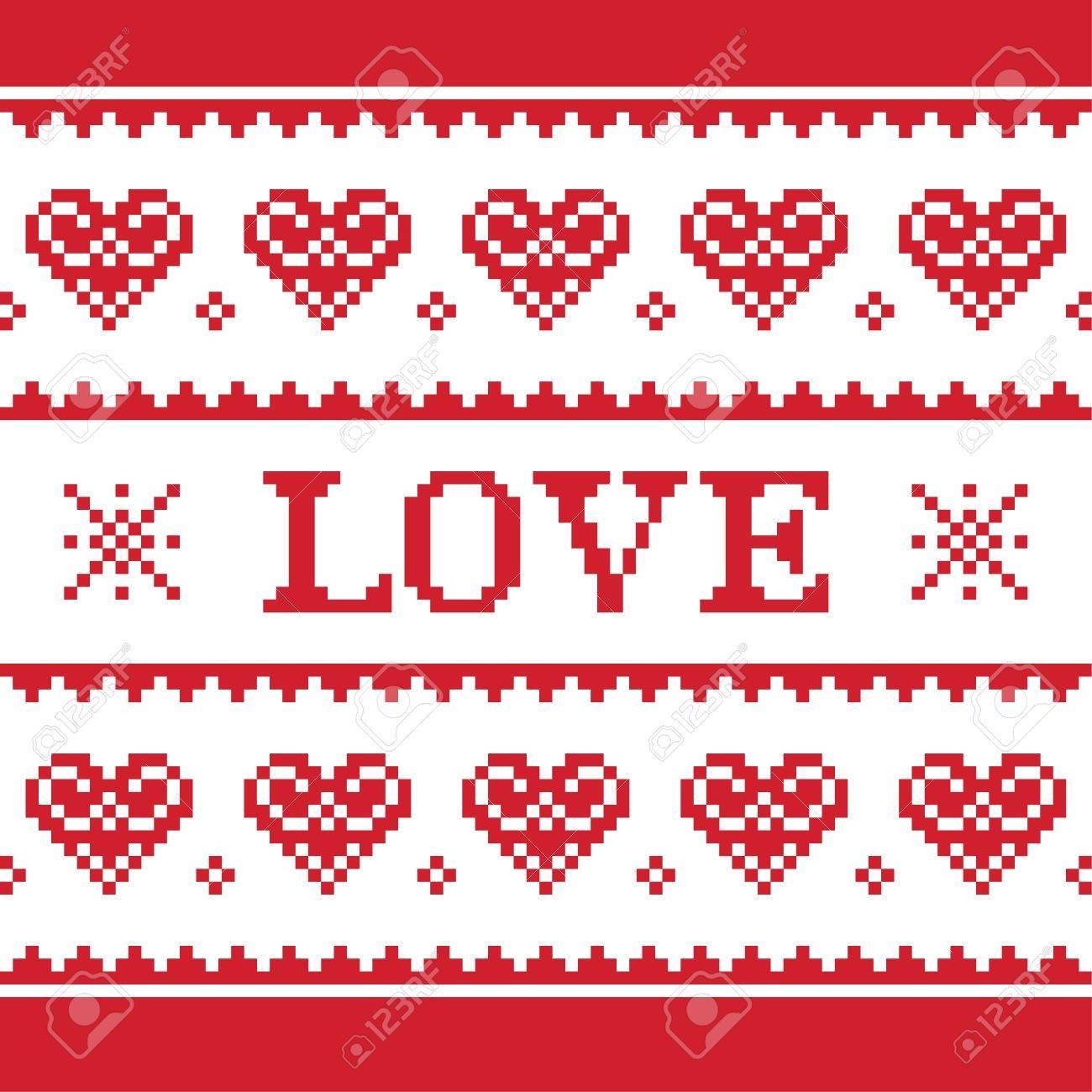 Día De San Valentín, El Amor Patrón De Punto, Tarjeta - Estilo ...