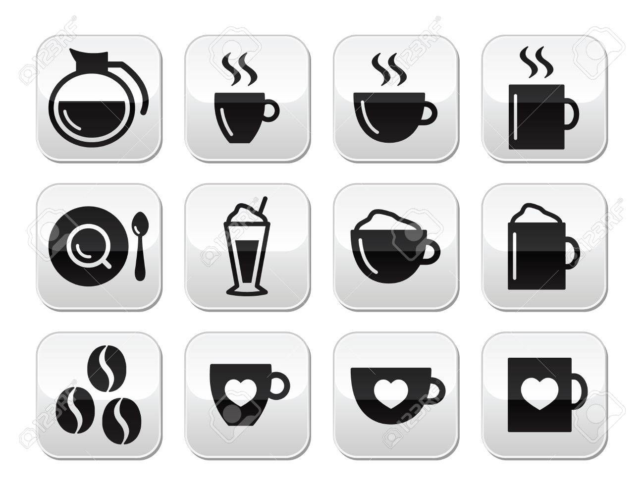 Coffee buttons set - vector Stock Vector - 17090772