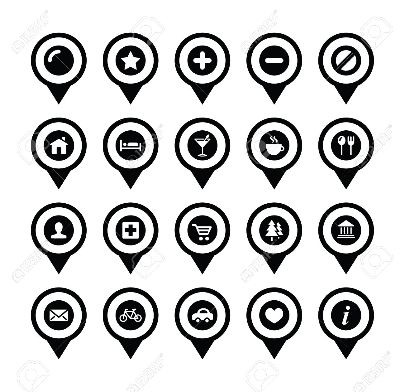 Map Location Markers, Pointers Vector Icons Set Royalty Free ...