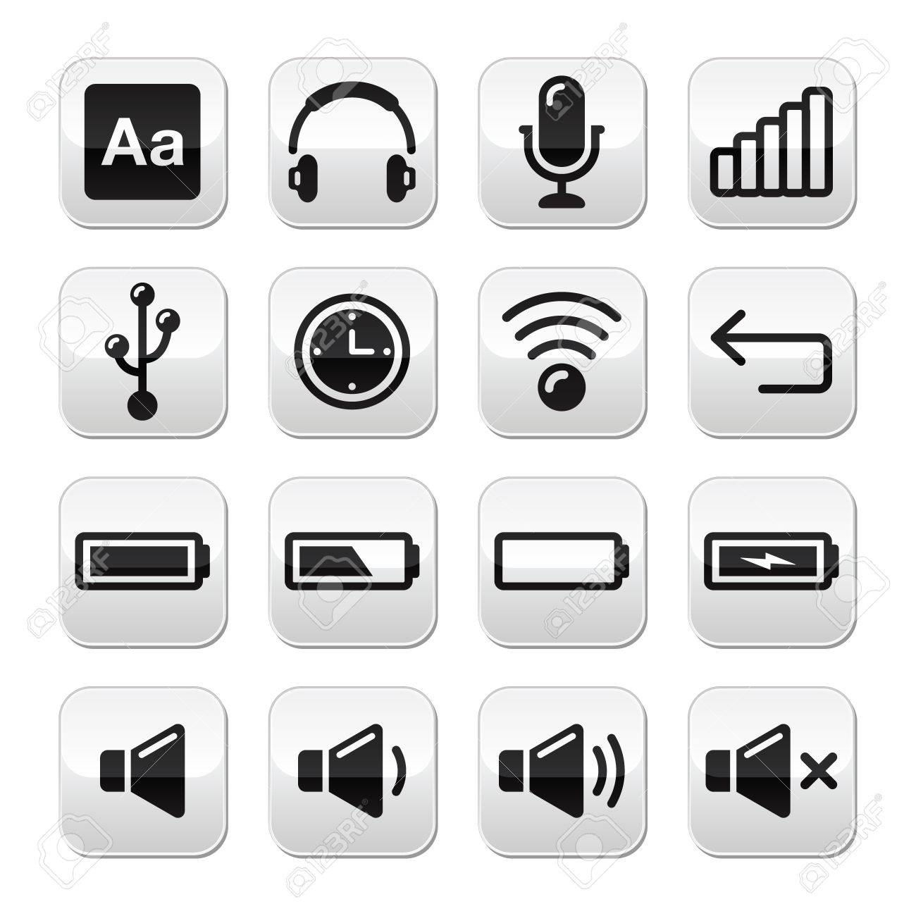 Electronic device   Computer software buttons set - vector Stock Vector - 17120749