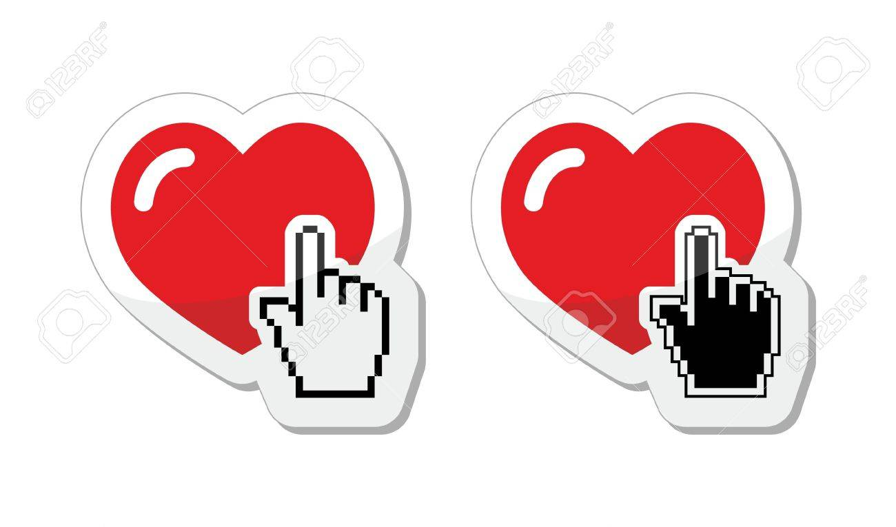 Heart with cursor hand labels - valentines, love, finding partner online concept Stock Vector - 17174168
