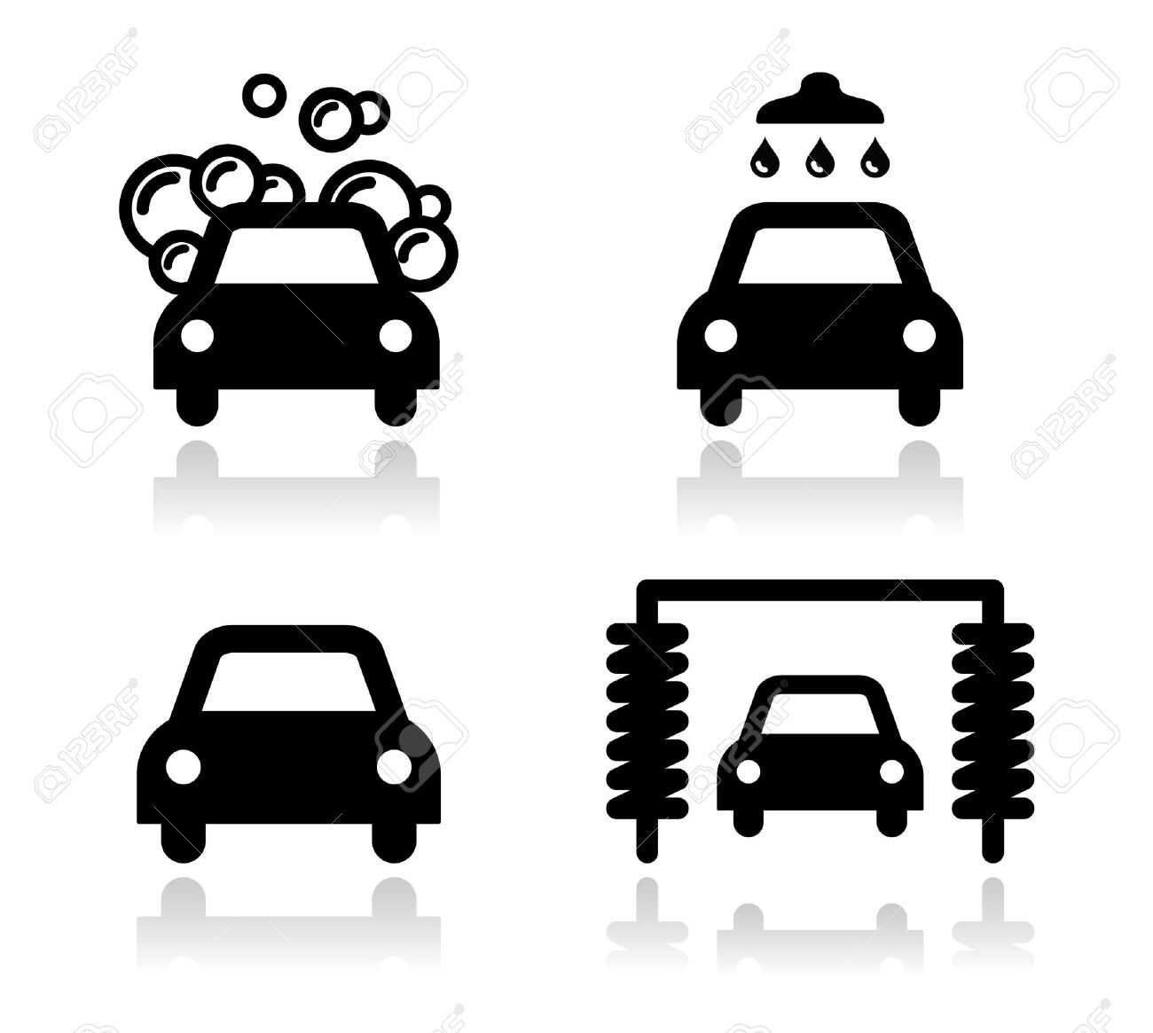 Car wash icons set - vector Stock Vector - 17526780
