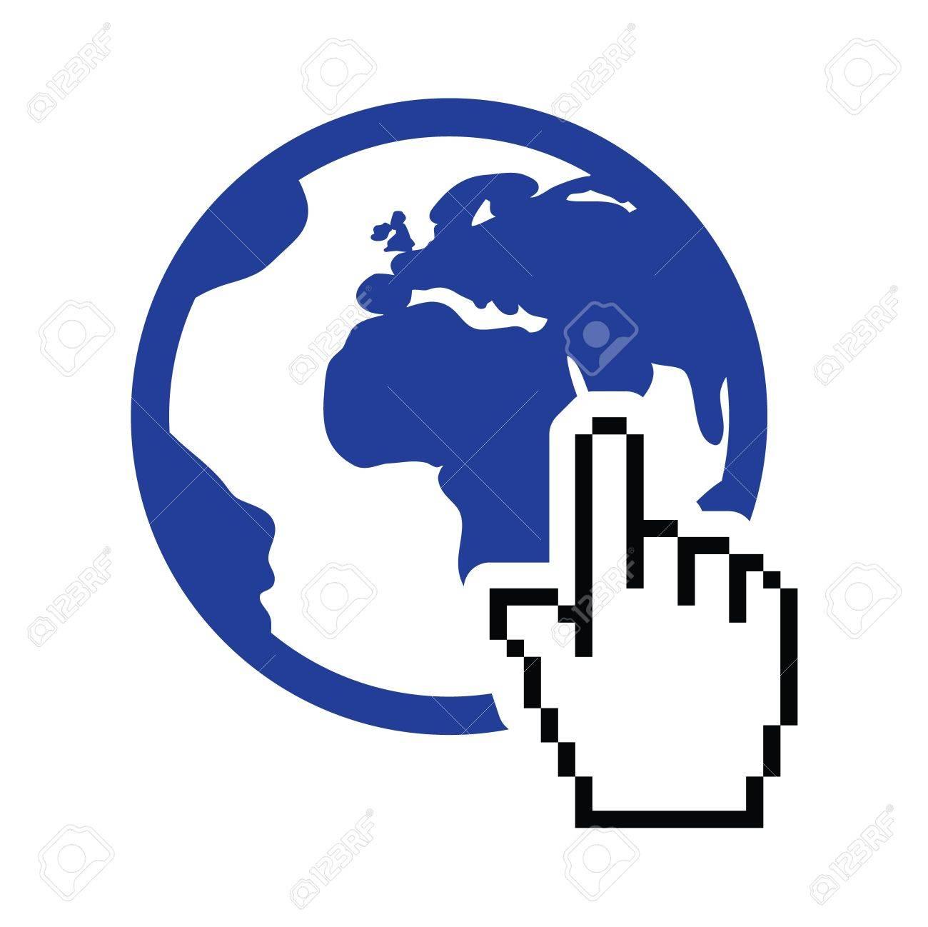 Globe, earth with cursor hand vector icon Stock Vector - 17660560