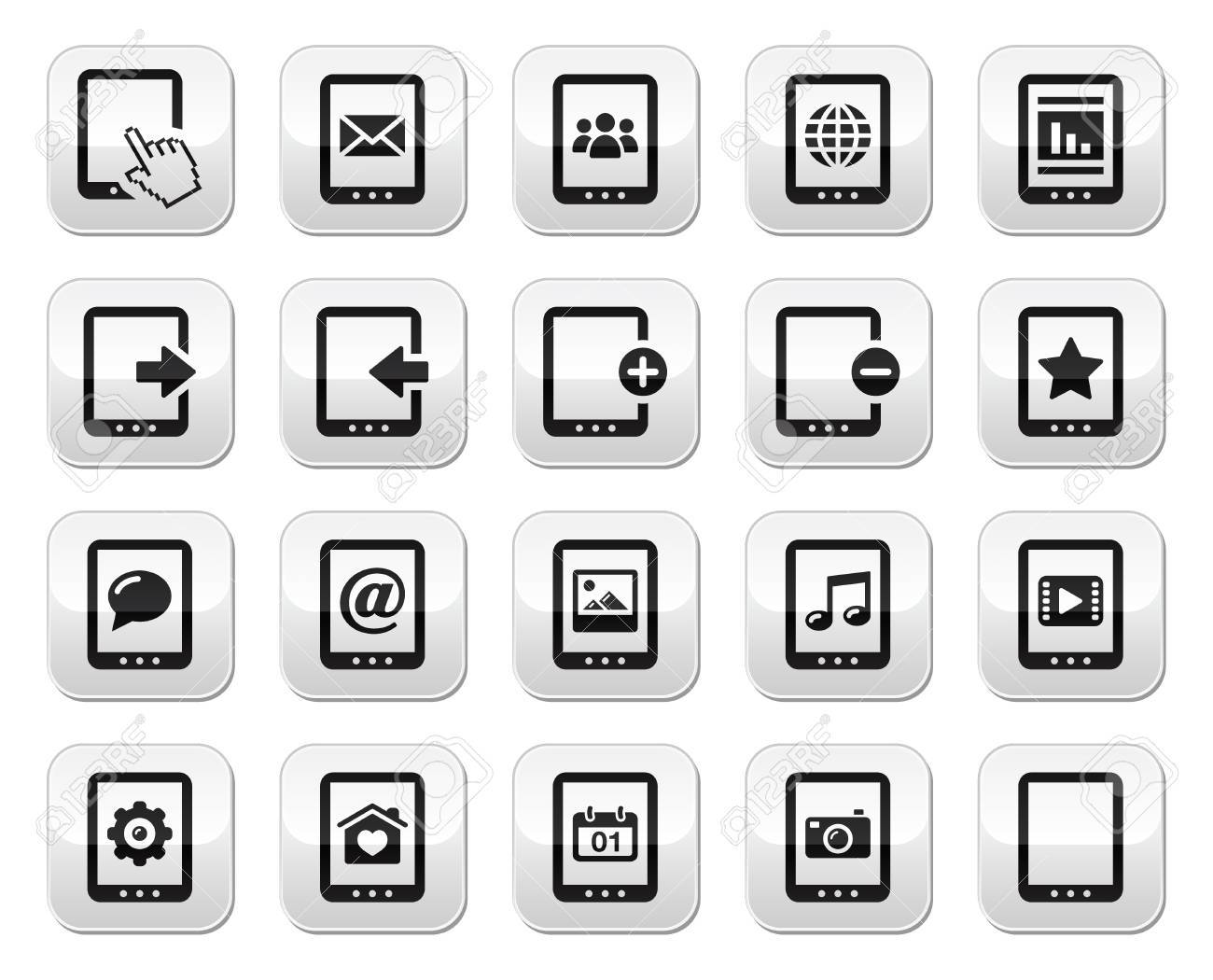 Tablet grey square buttons set - vector Stock Vector - 17660549