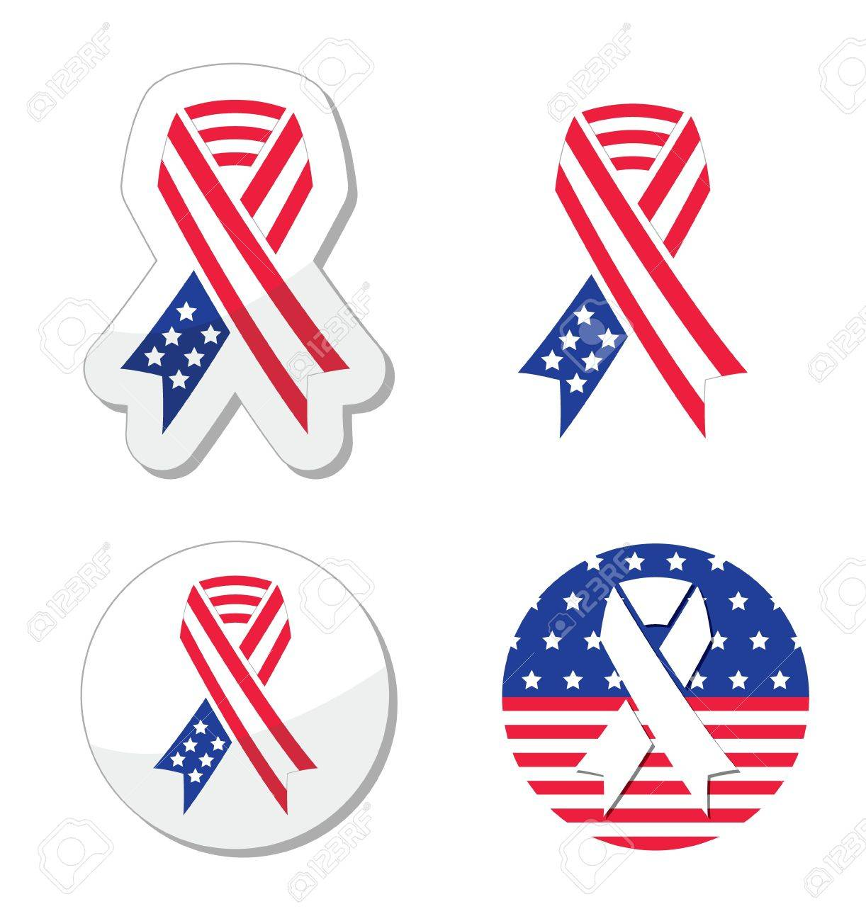 USA ribbon flag - symbol of patriotism, the victims and heros of the 9 11 attacks Stock Vector - 17660553
