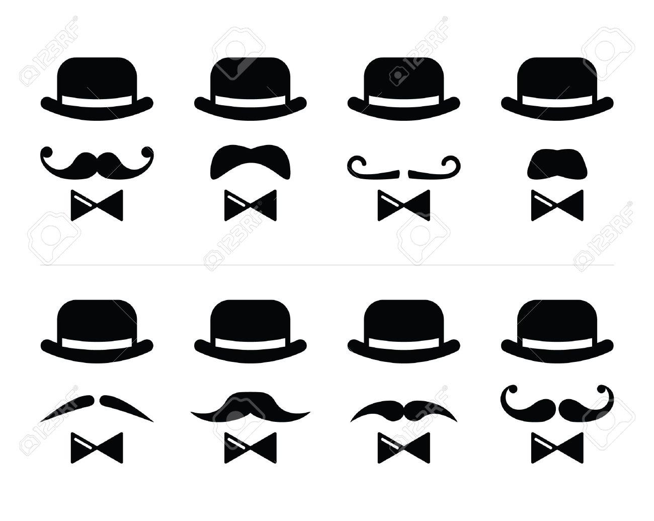 Bowtie Vector moustache and bow tie set