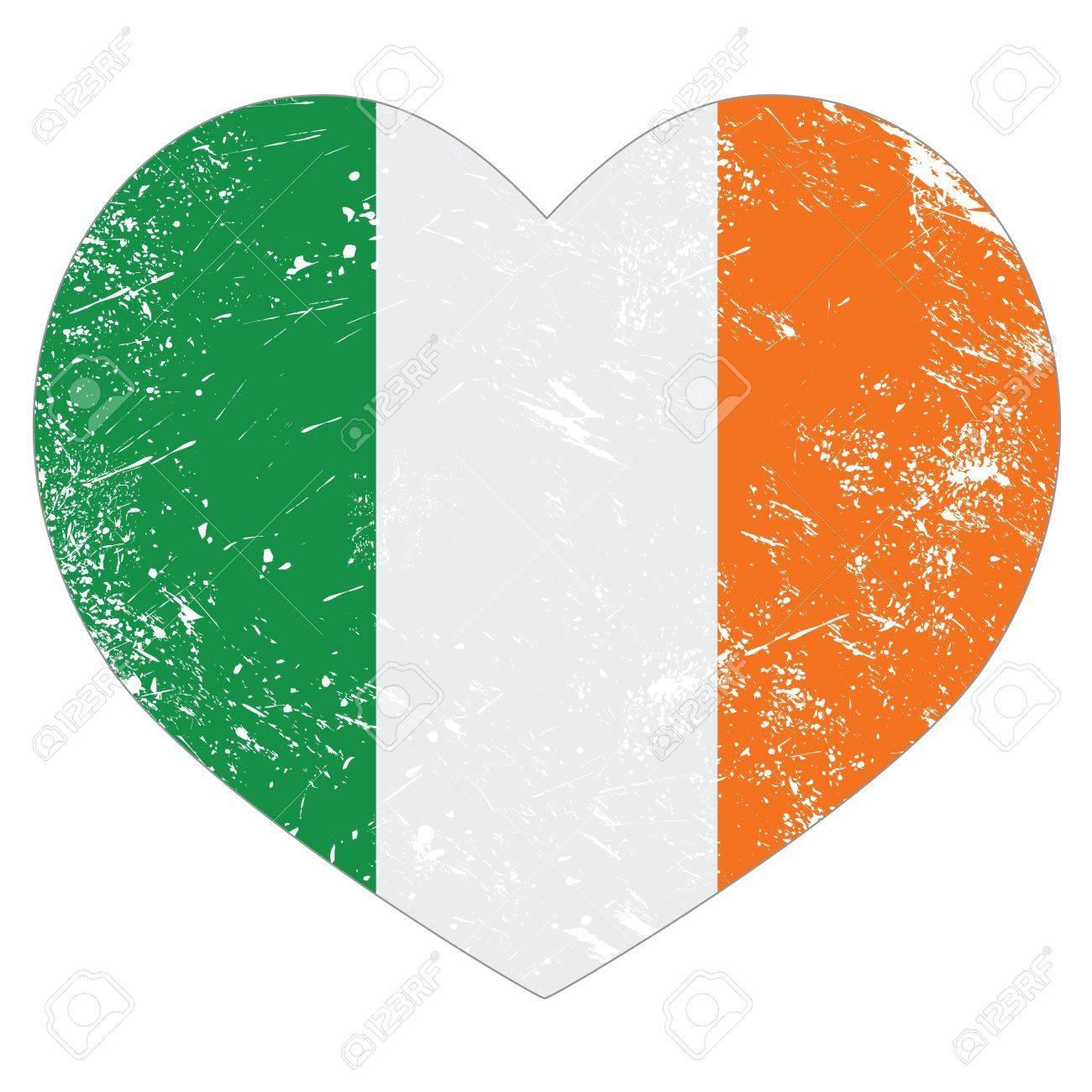 Ireland heart retro flag - St Patricks Day Stock Vector - 18276633