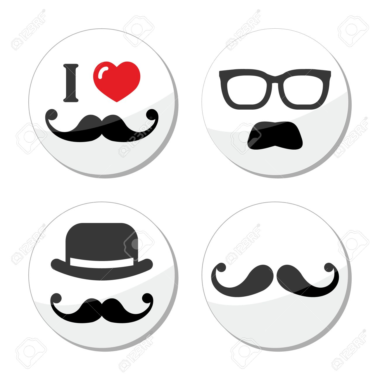 I love mustache   moustache icons set Stock Vector - 18383854