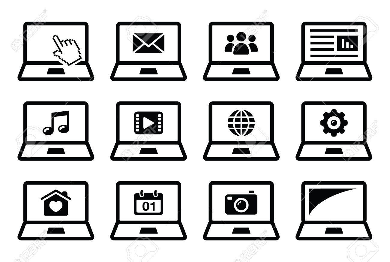 Laptop black icons set Stock Vector - 18383871