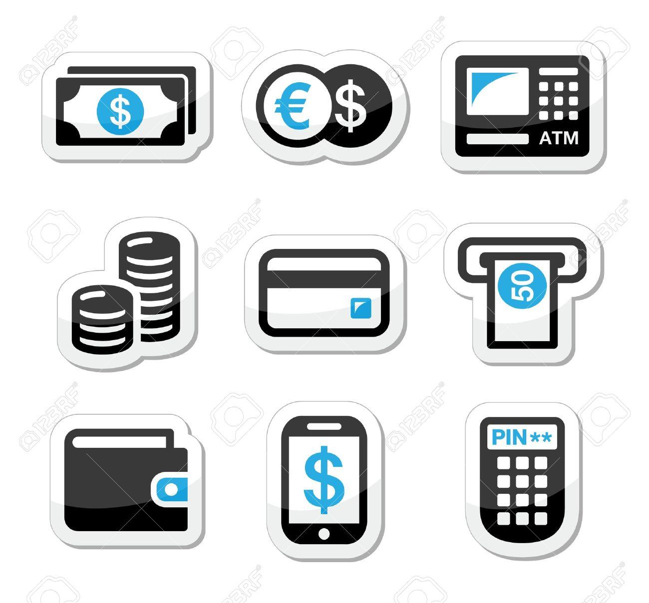 Money, atm - cash machine vector icons set Stock Vector - 18421090