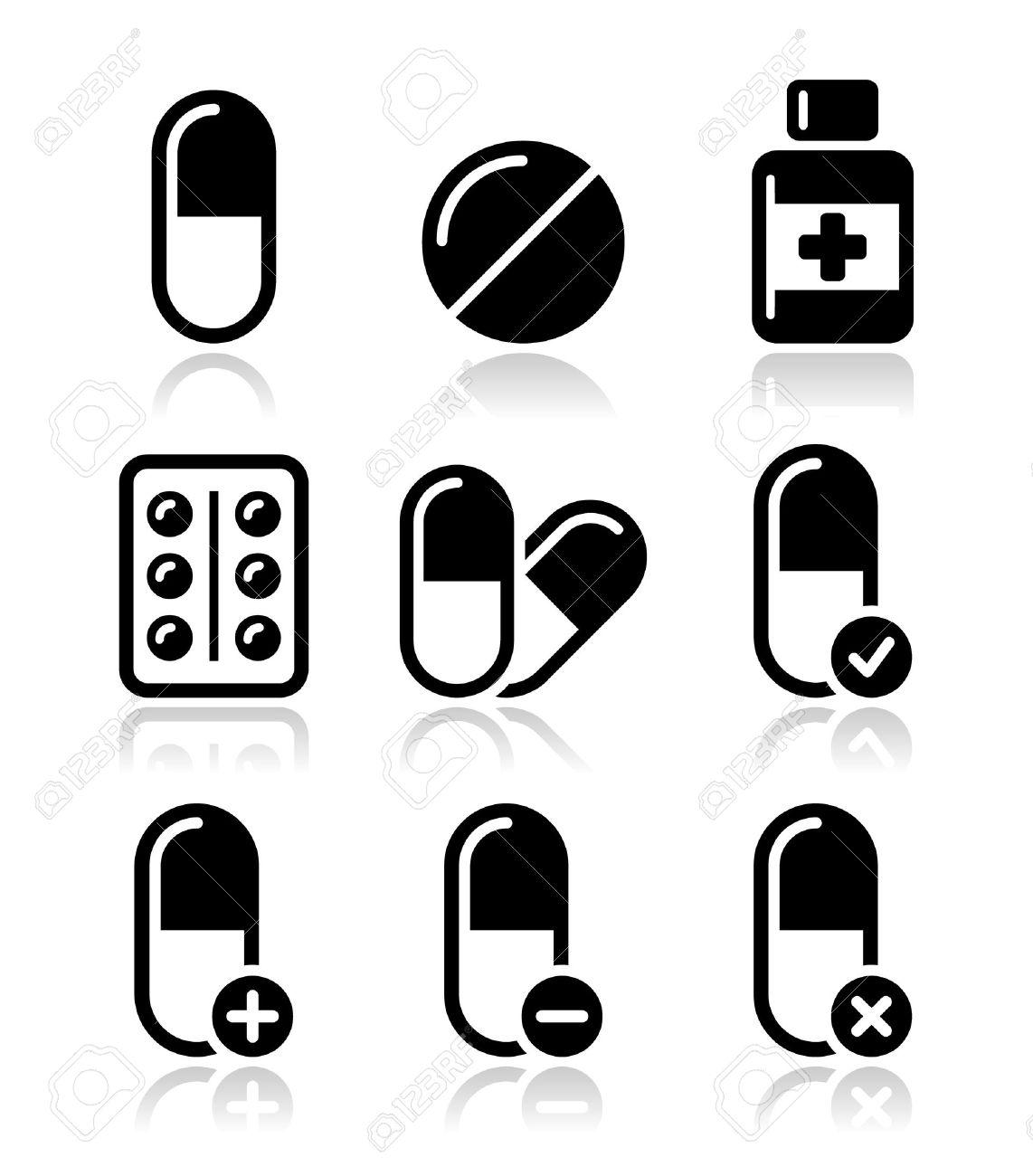 Pills, medication icons set Stock Vector - 18424765