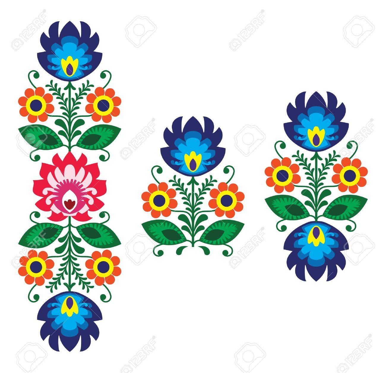 Folk Bordado Con Flores - Patrón Tradicional Polaca Ilustraciones ...