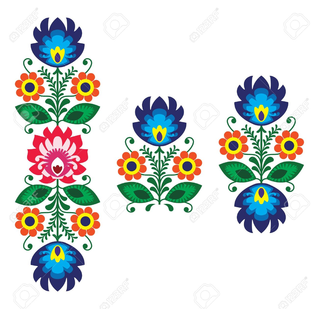 Folk embroidery with flowers - traditional polish pattern Stock Vector - 18622804