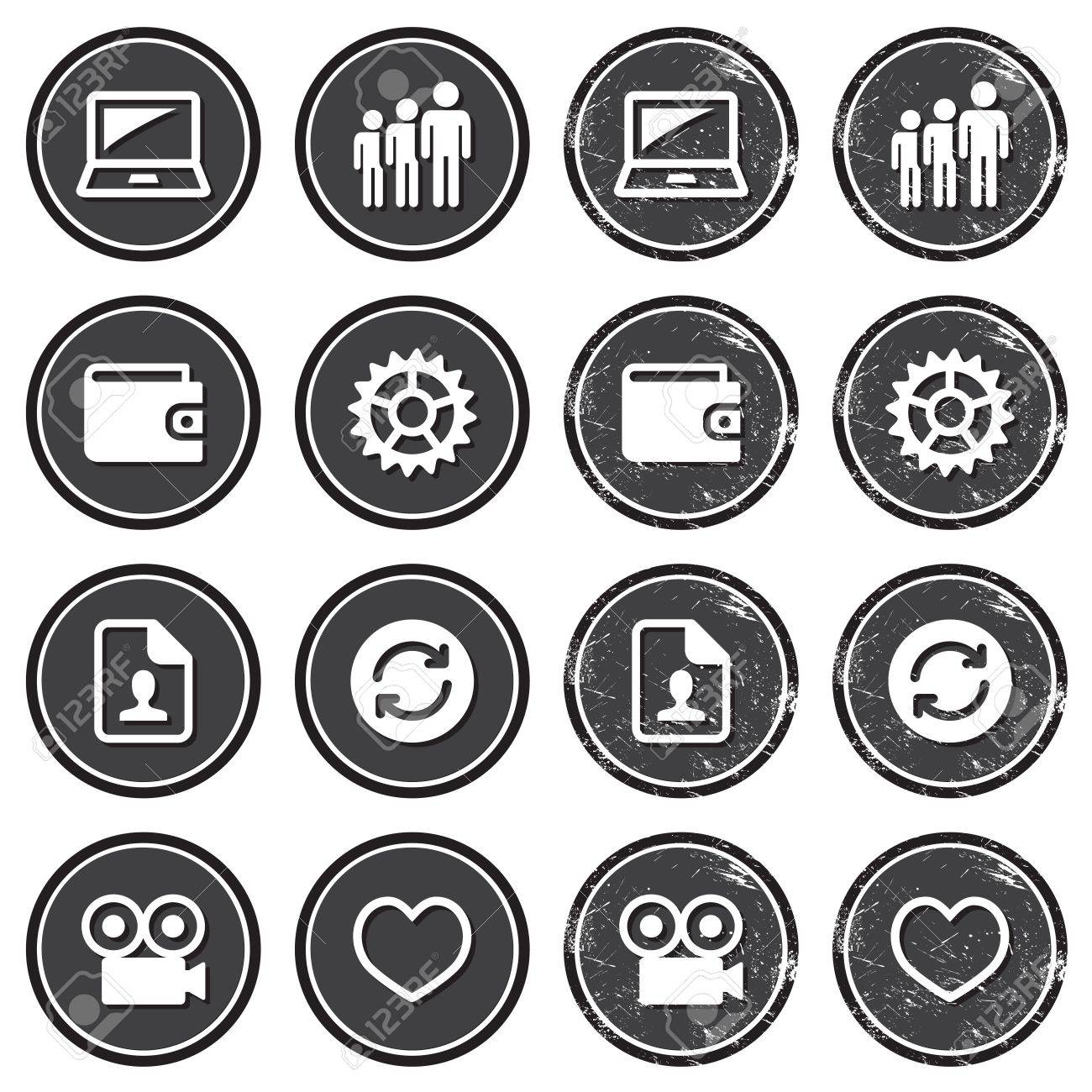 Web navigation icons on retro labels set Stock Vector - 18661141