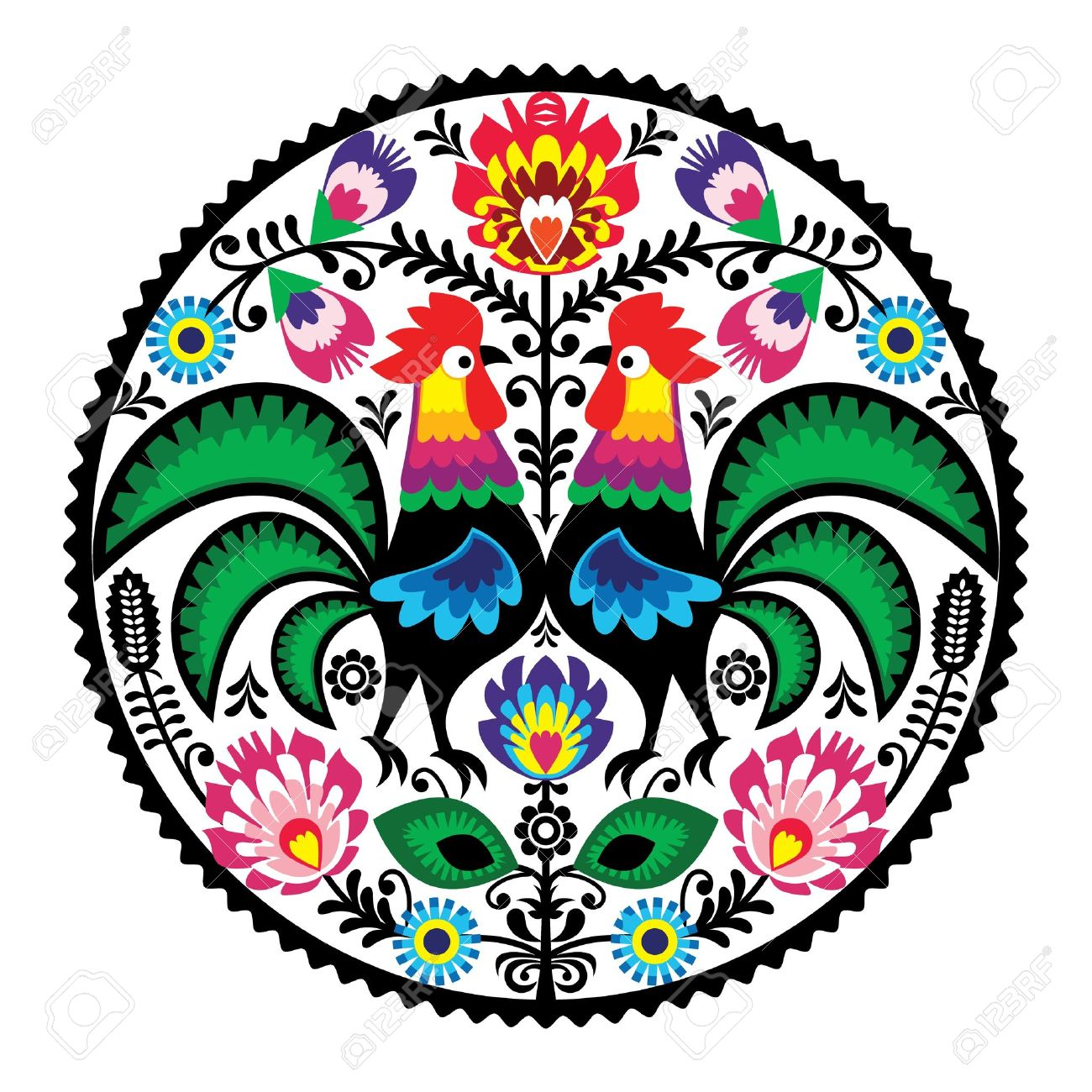 Polish floral embroidery with roosters - traditional folk pattern Stock Vector - 18755134