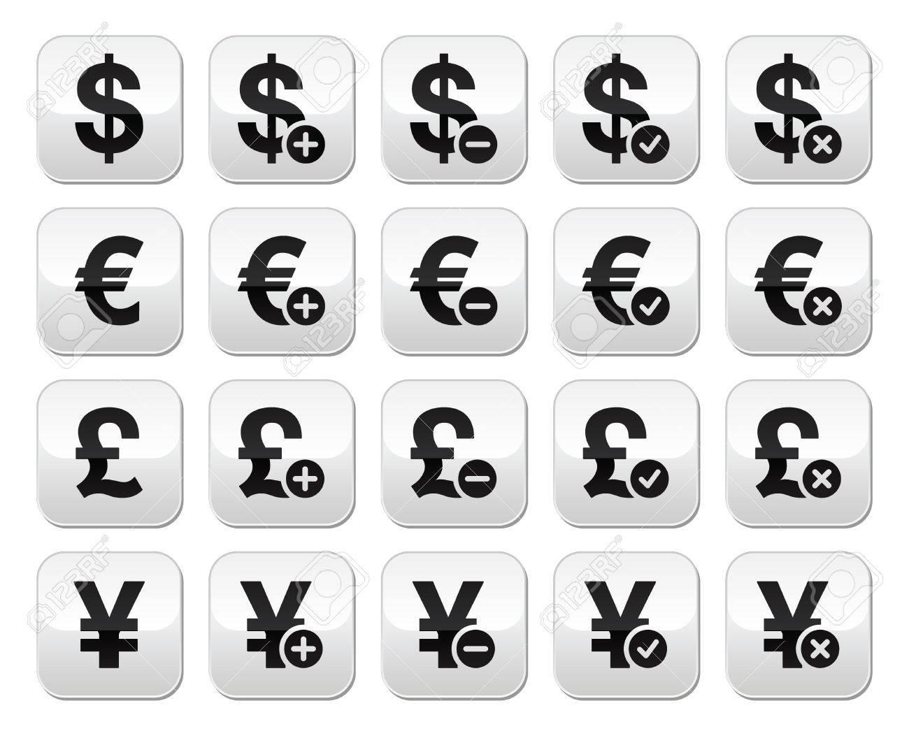 Bureau De Change Boutons Serie Dollar Euro Yen Livre Sterling