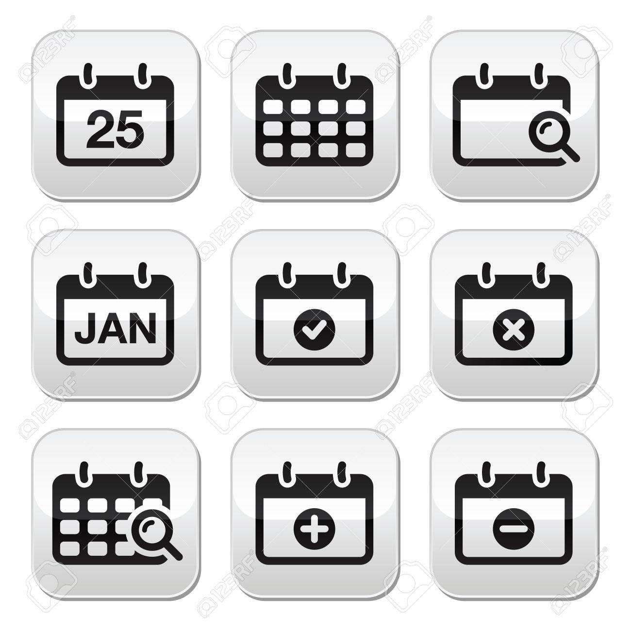 Calendar date buttons set Stock Vector - 18881182