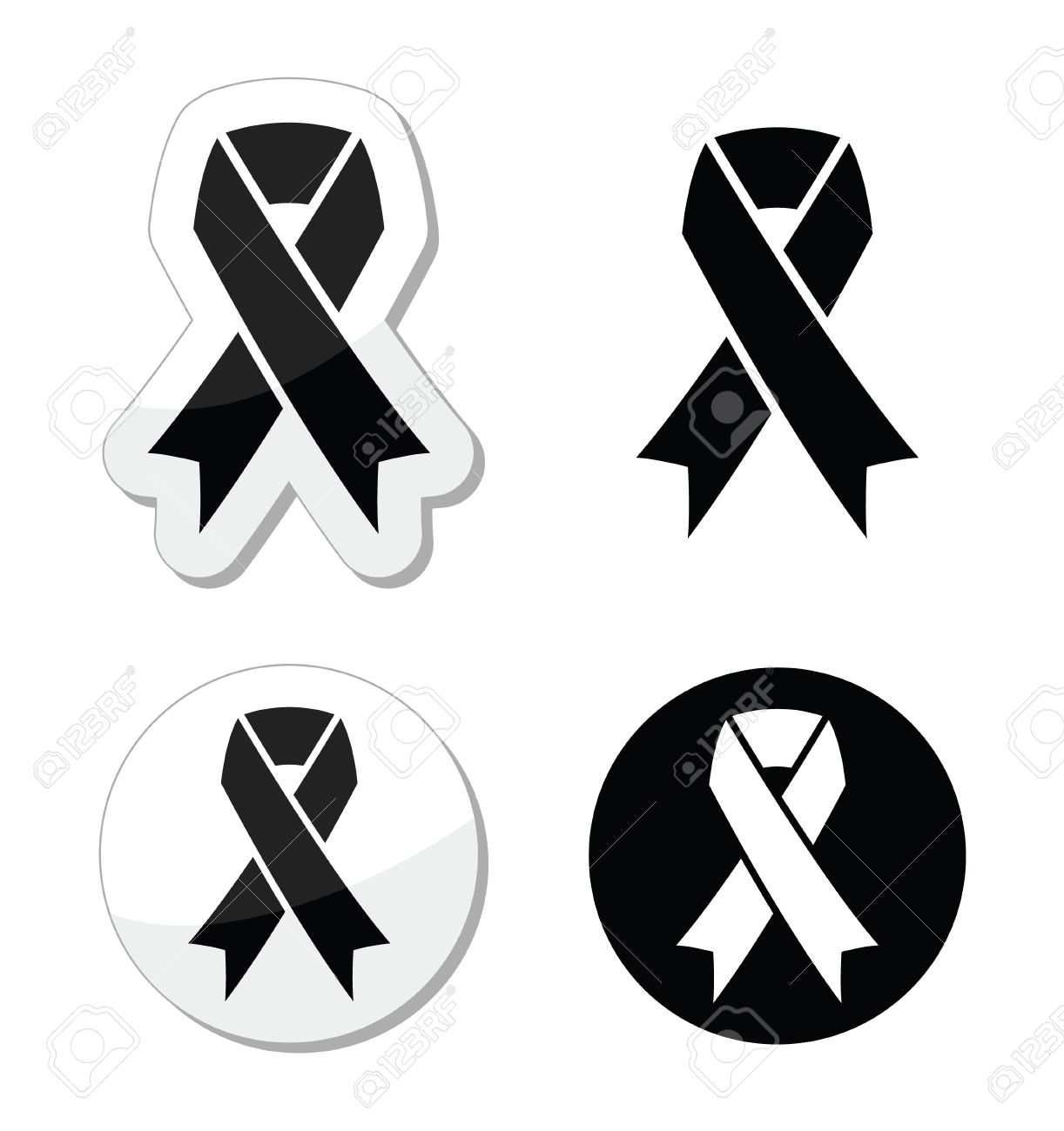 Black ribbon - mourning, death, melanoma symbol Stock Vector - 18881183