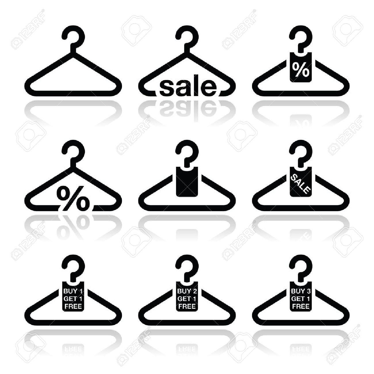 Hanger, sale, buy 1 get 1 free icons set Stock Vector - 18952193