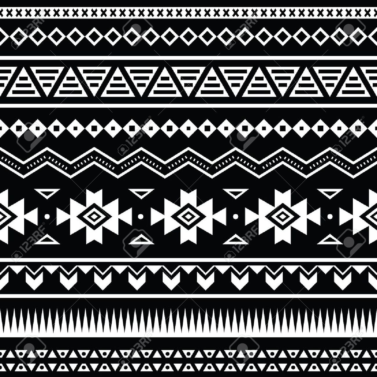 aztec seamless pattern, tribal black and white background royalty
