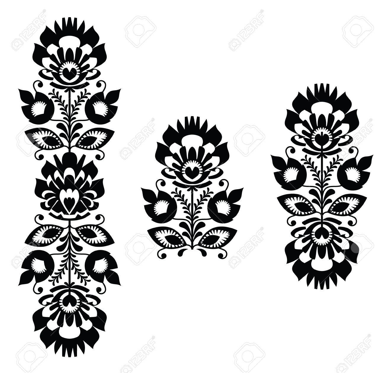 Folk Embroidery - Floral Traditional Polish Pattern In Black ...