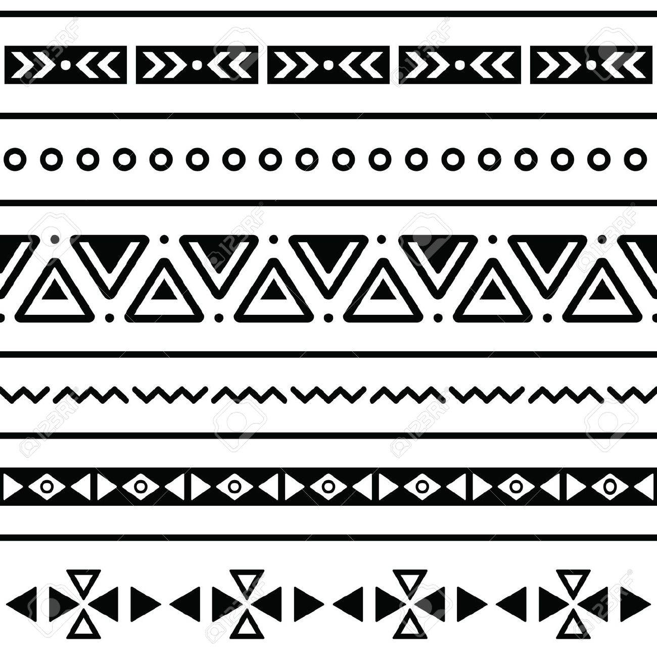 Background geometric mexican patterns seamless vector zigzag maya - Aztec Seamless Pattern Tribal Black And White Background Stock Vector 19482145