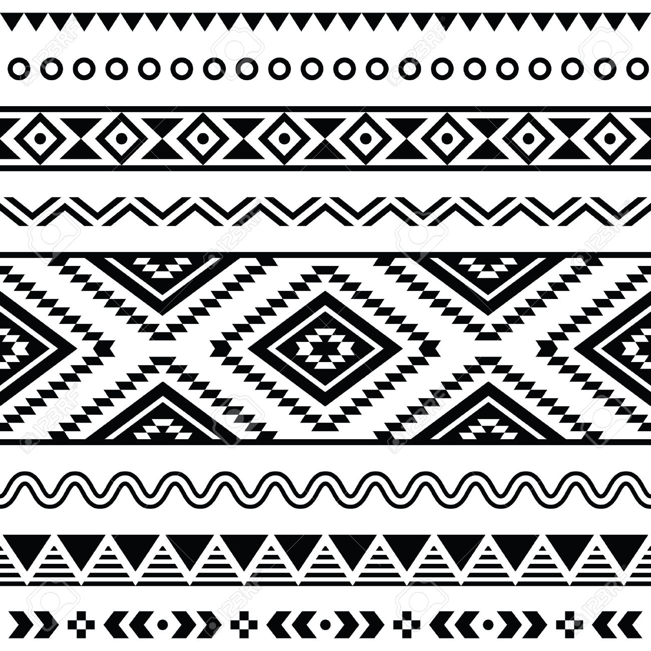 Background geometric mexican patterns seamless vector zigzag maya - Tribal Seamless Pattern Aztec Black And White Background Stock Vector 19482468