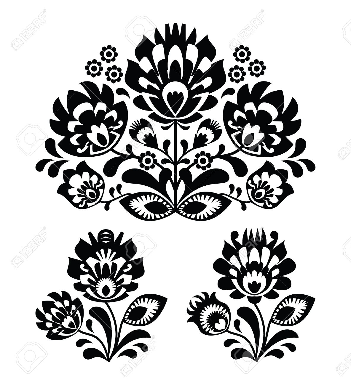Folk embroidery with flowers - traditional polish pattern Stock Vector - 19773505